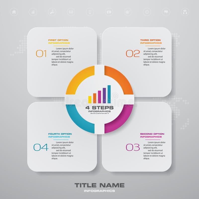 för processdiagram för 4 moment simple&editable beståndsdel för infographics vektor illustrationer