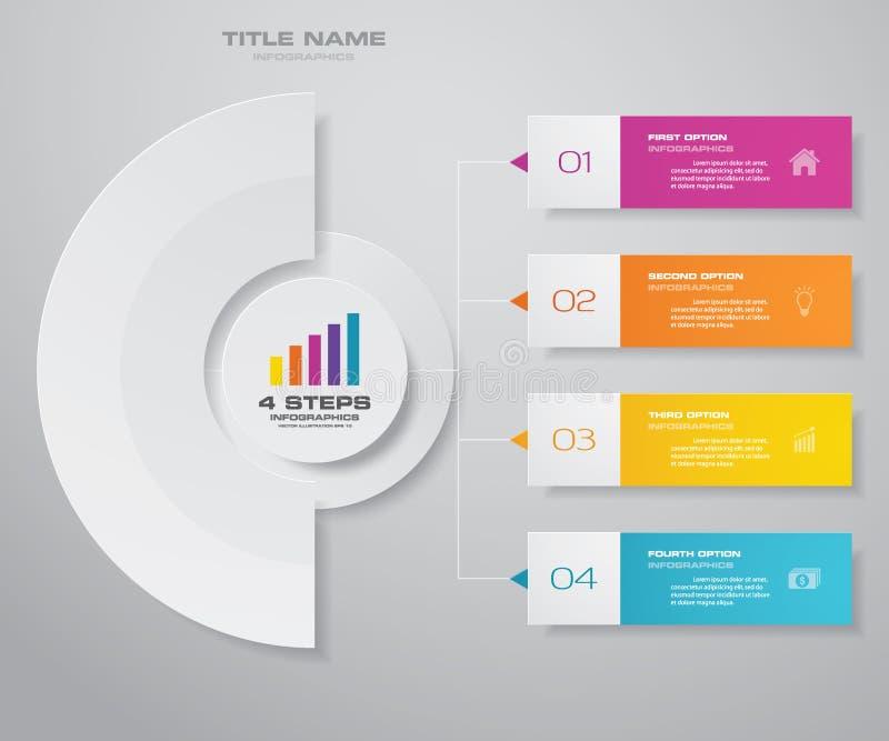 för processdiagram för 4 moment simple&editable beståndsdel för infographics royaltyfri illustrationer