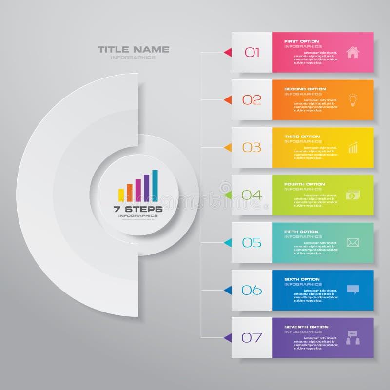 för processdiagram för 7 moment simple&editable beståndsdel för infographics royaltyfri illustrationer