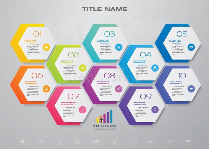 för processdiagram för 10 moment simple&editable beståndsdel för infographics 10 eps royaltyfri illustrationer