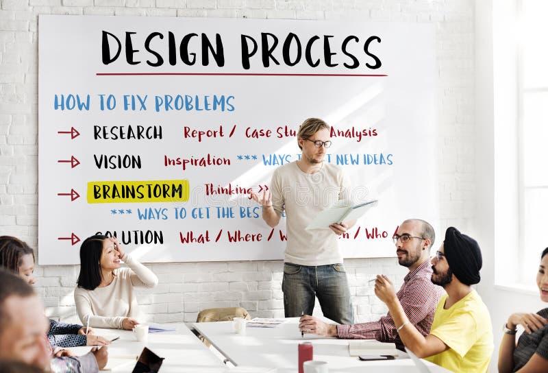 För processlösning för design idérikt begrepp royaltyfria bilder