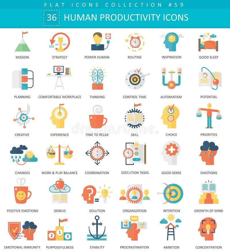 För produktivitetsfärg för vektor mänsklig uppsättning för symbol för lägenhet Symbol för rengöringsduk för produktivitet för des vektor illustrationer