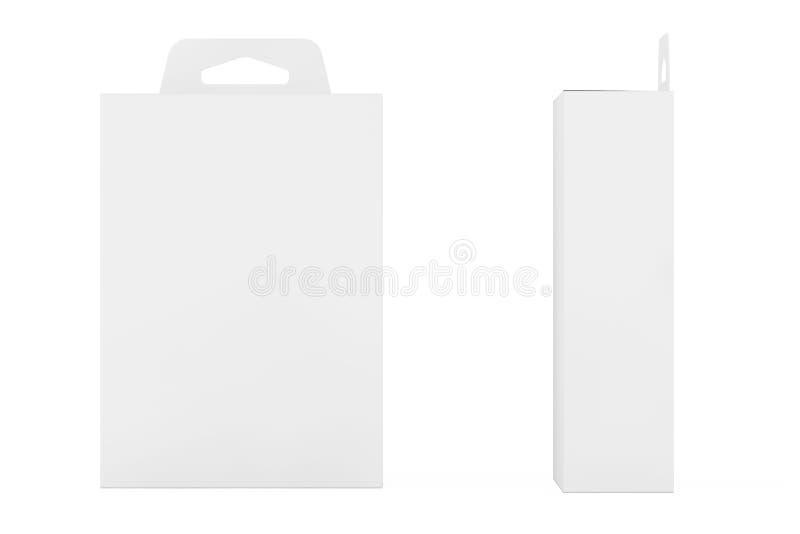 För produktpacke för modell vit ask med Hang Slot framförande 3d vektor illustrationer