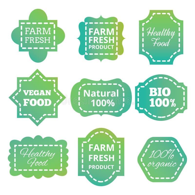 För produktvektor för tappning färgrik naturlig organisk bio etikett, etiketter, emblem och emblem för gräsplan stock illustrationer