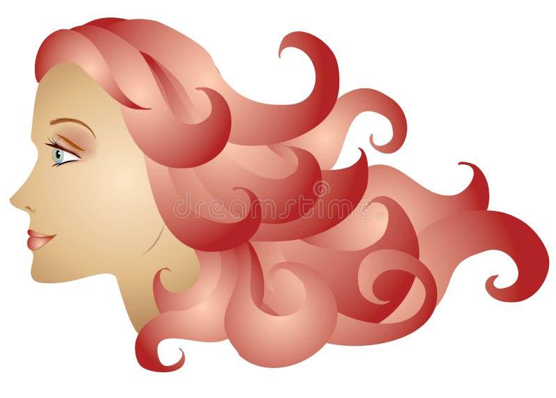 för profilred för hår lång kvinna royaltyfri illustrationer