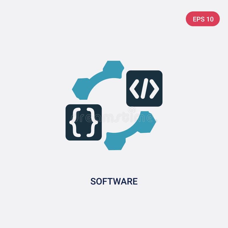 För programvaruvektor för två färg symbol från att programmera begrepp det isolerade blåa symbolet för programvaruvektortecknet k royaltyfri illustrationer