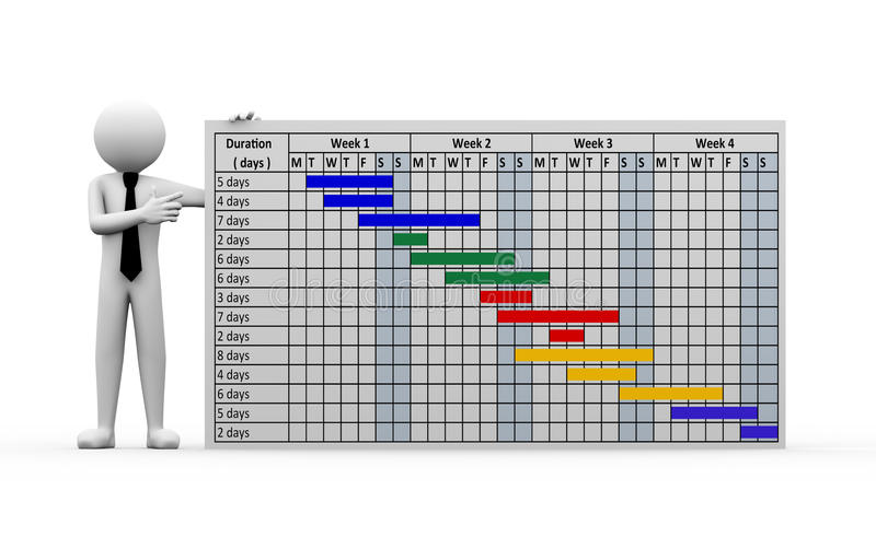 för projektgantt för affärsman 3d presentation diagram royaltyfri illustrationer