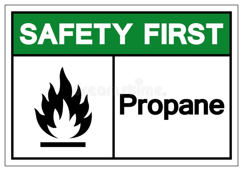 För propansymbol för säkerhet första tecken, vektorillustration, isolat på den vita bakgrundsetiketten EPS10 stock illustrationer