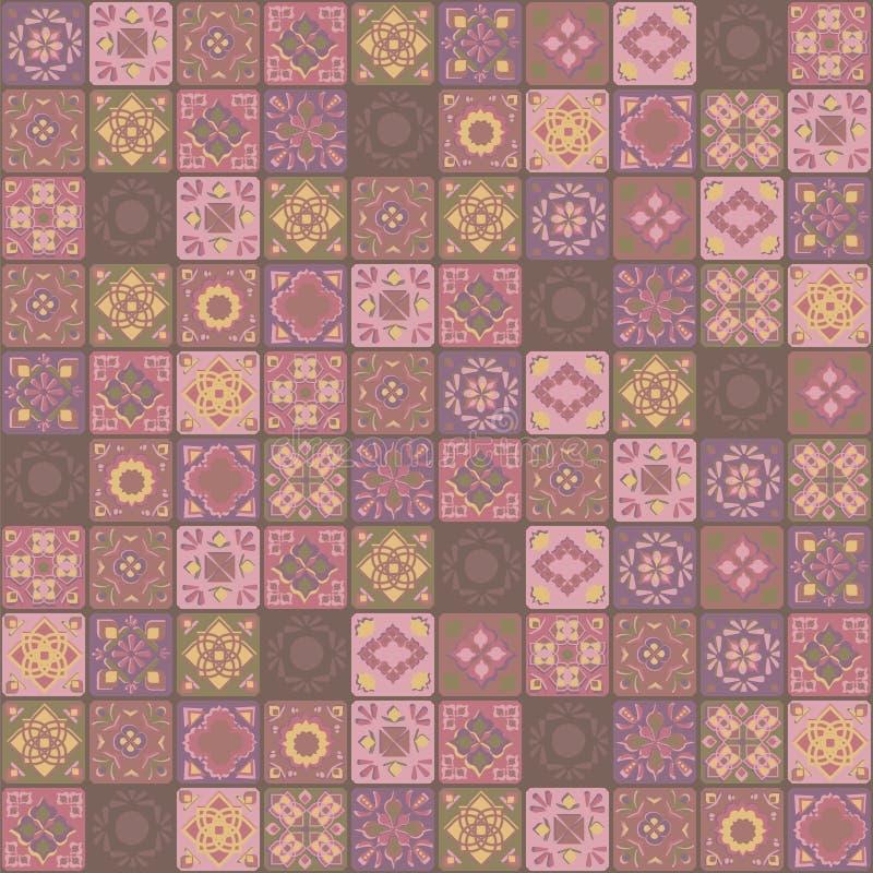 För prydnadbrunt för vektor sömlöst PA för fyrkantig indisk för guling rosa för keramiska tegelplattor blom- för grönsak för mosa vektor illustrationer