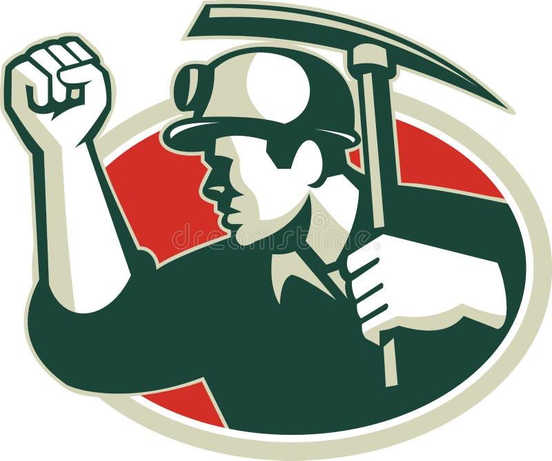 För Pump Fist With för kolgruvarbetare Retro yxa hacka royaltyfri illustrationer