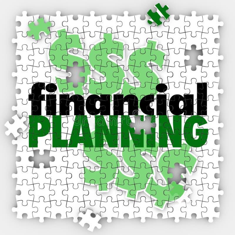 För pusselstycken för finansiell planläggning besparing för avgång för budget för fullföljande vektor illustrationer