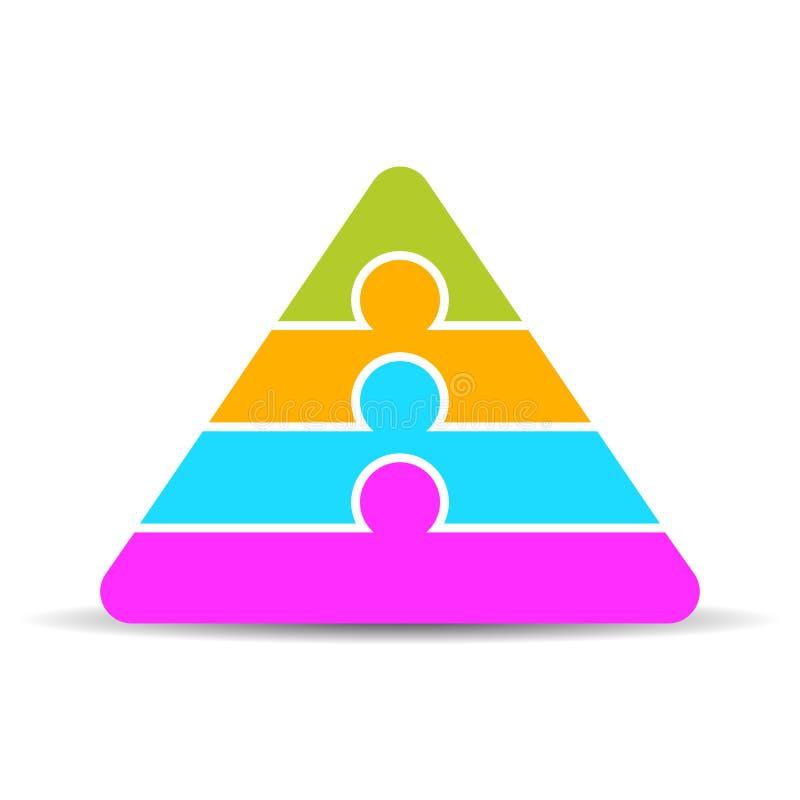 För pyramiddiagram för fyra lager mall stock illustrationer