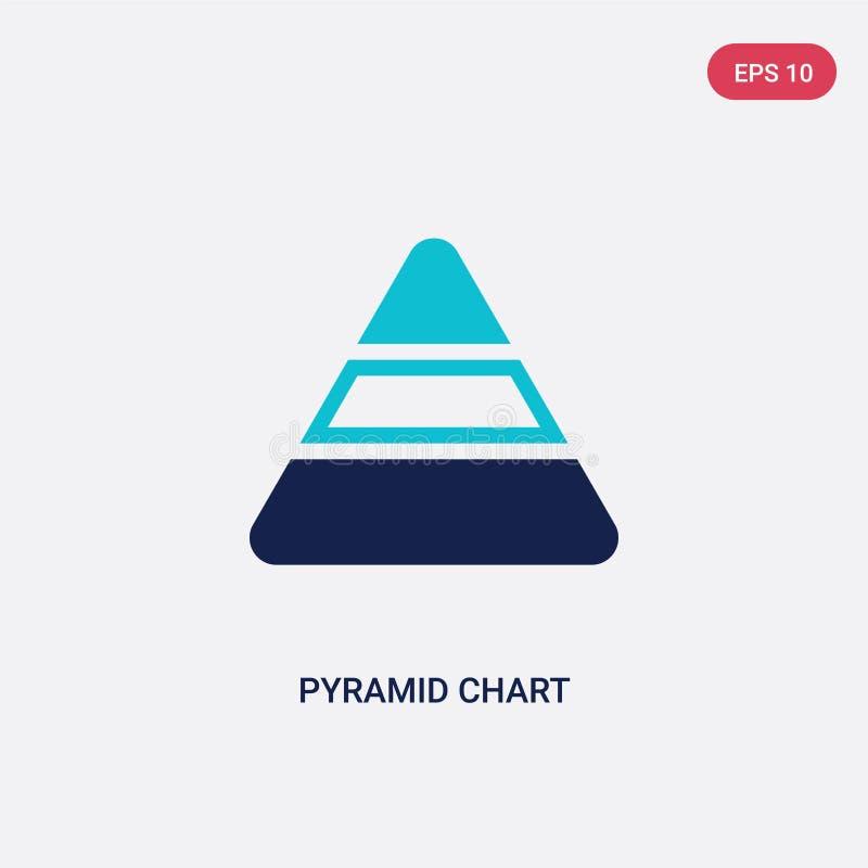 För pyramiddiagram för två färg symbol för vektor från analyticsbegrepp det isolerade blåa symbolet för tecknet för pyramiddiagra royaltyfri illustrationer