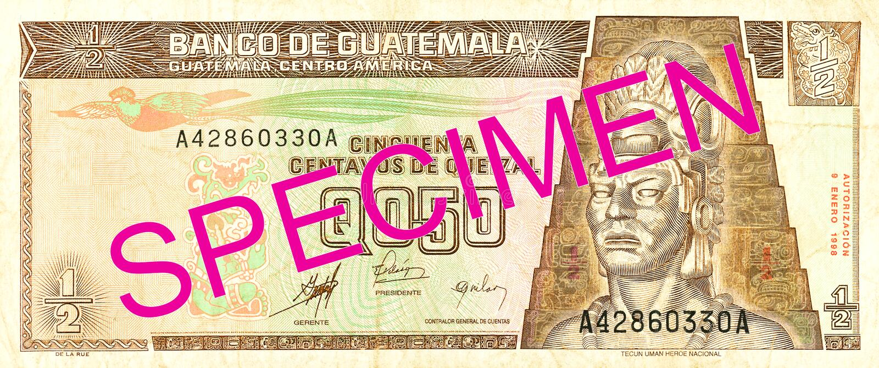 för quetzalsedel för 0,5 guatemalan avers arkivbild