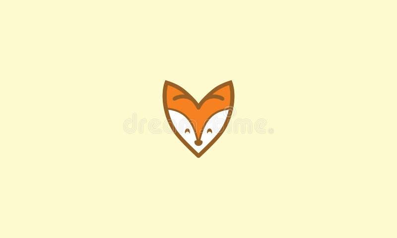 För rävlogo för förälskelse gullig vektor för symbol royaltyfri illustrationer