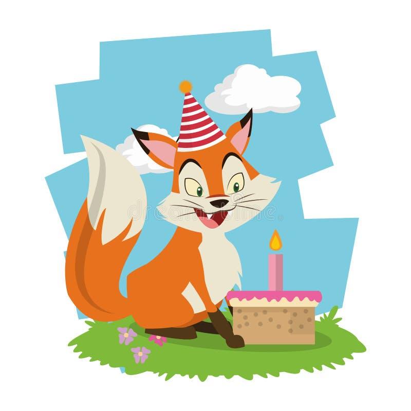 För rävtecknad film för lycklig födelsedag kort stock illustrationer