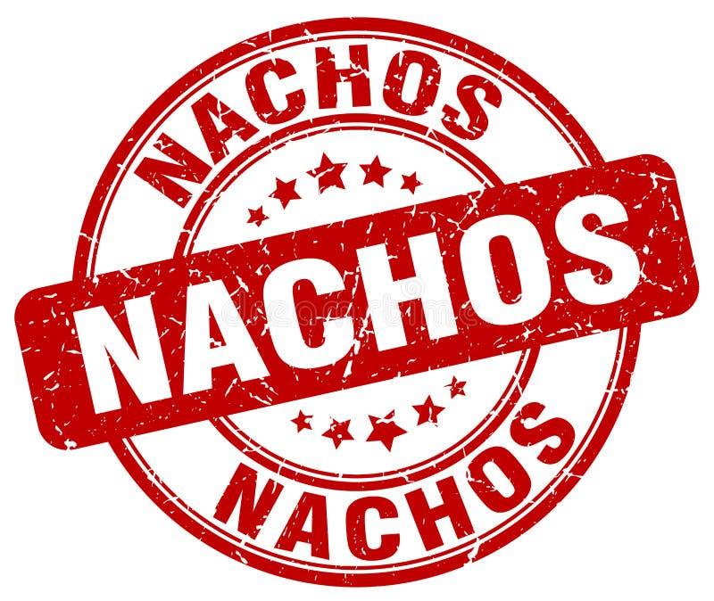 För röd rubber stämpel grungerunda för Nachos royaltyfri illustrationer