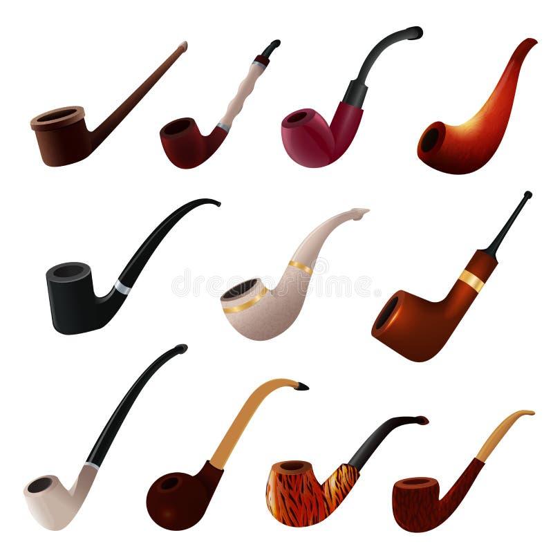 För röka-röret för objekt för rökaren för nikotin för tappning för vektorn för tobakröret ställde den klassiska retro illustratio stock illustrationer