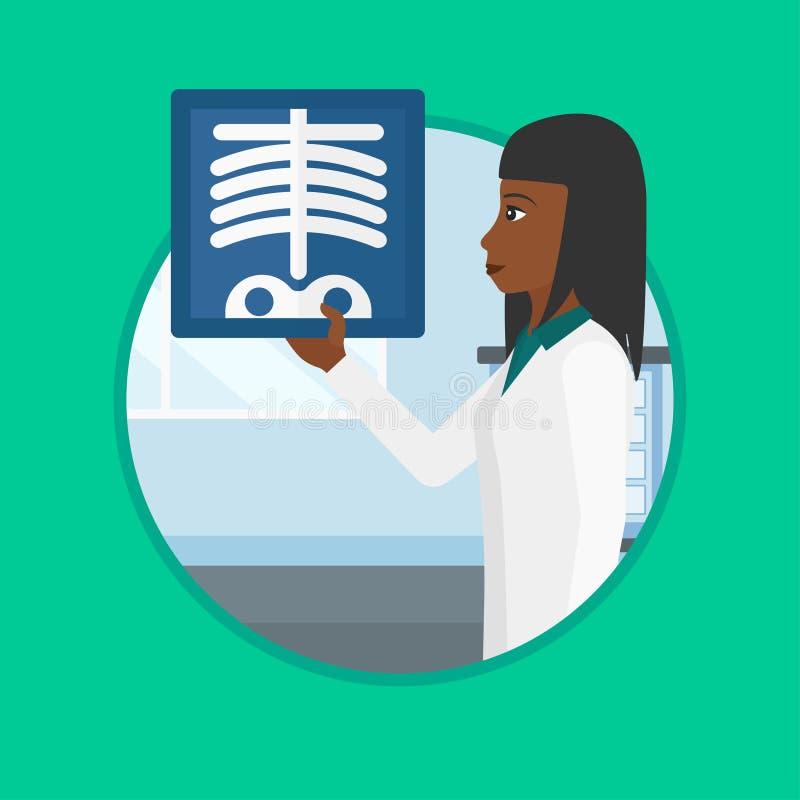 För röntgenbildvektor för doktor undersökande illustration vektor illustrationer
