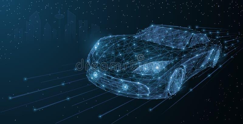 För rörelsebil för vektor snabbt drev för stad för natt För poy-bil för abstrakt tråd låg illustration på mörker - blå cityscapeb vektor illustrationer