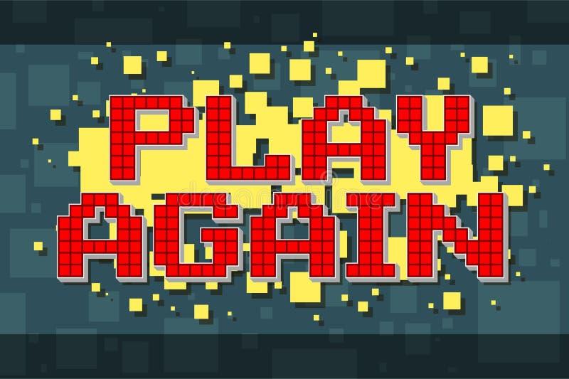 För rött PIXEL retro för lek knapp igen för videospel royaltyfri illustrationer