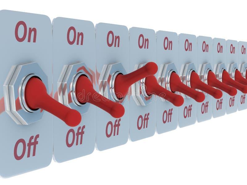 för radströmbrytare för bakgrund röd white stock illustrationer
