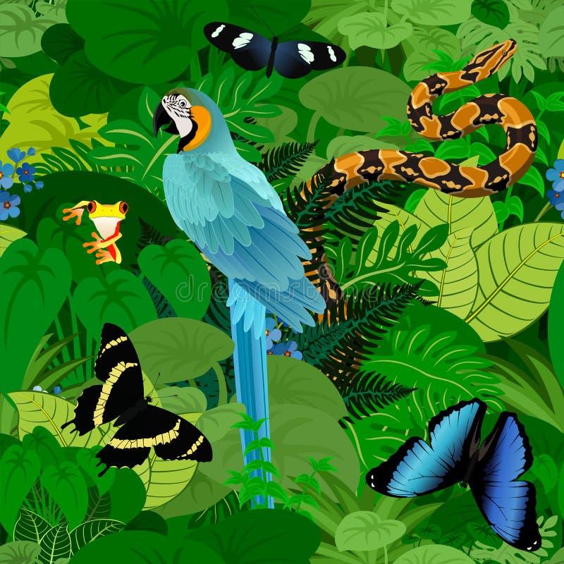 För rainforestdjungel för sömlös vektor tropisk bakgrund med den munkhättamakawpapegojan, pytonormen och fjärilar vektor illustrationer