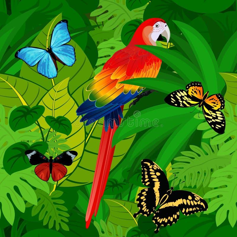 För rainforestdjungel för sömlös vektor tropisk bakgrund med papegojan och fjärilar stock illustrationer