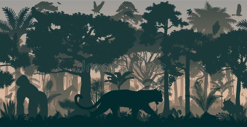 För rainforestdjungel för vektor afrikansk horisontalsömlös tropisk bakgrund med djur stock illustrationer