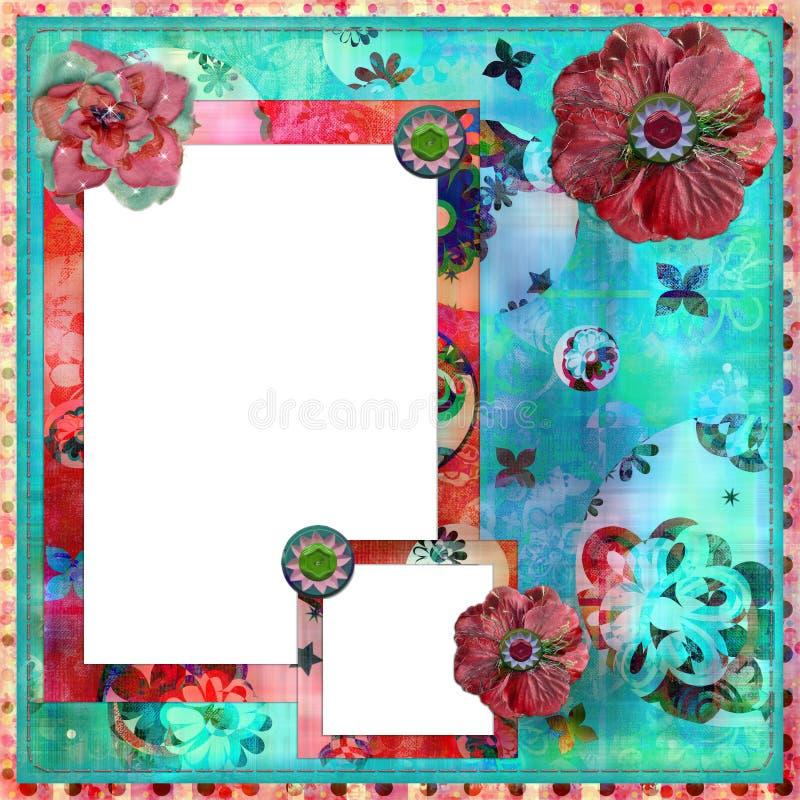 för ramfoto för bakgrund sjaskig blom- scrapbooking royaltyfri illustrationer