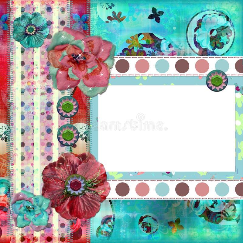 för ramfoto för bakgrund sjaskig blom- scrapbooking stock illustrationer