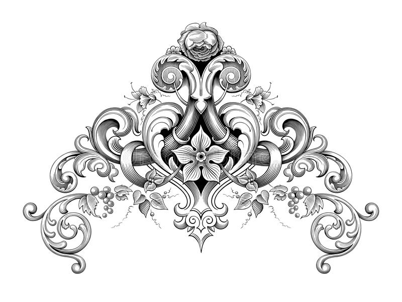 För ramgräns för tappning barock viktoriansk heraldi för vektor för tatuering för modell för blom- prydnad för monogram för hörn  royaltyfri illustrationer