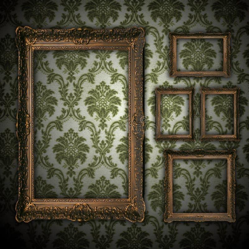 för ramguld för bakgrund tom vägg för tappning vektor illustrationer
