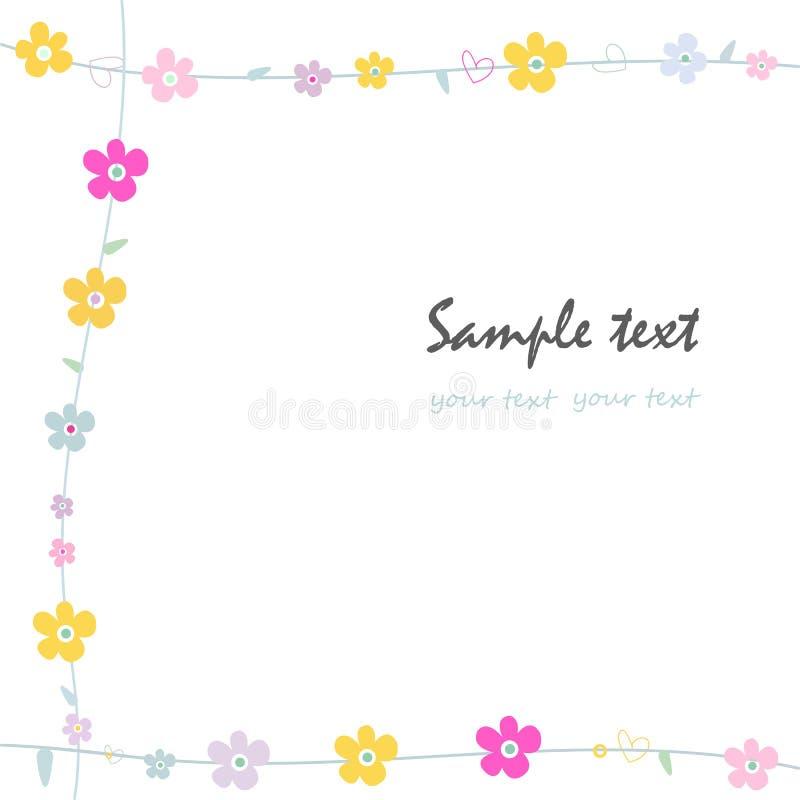 För ramhälsning för enkla blommor dekorativt kort stock illustrationer