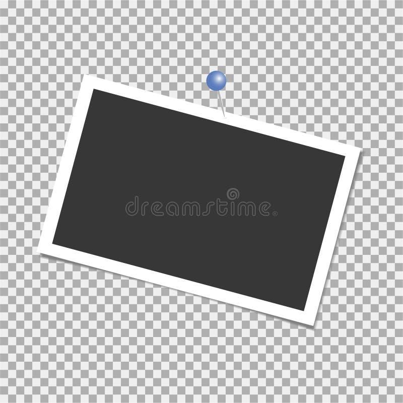 för ramhålet för bakgrund mönstrde härlig svart kpugloe fotoet Polaroid- ram, vektor med stiftet, häftklammer, gem mall också vek stock illustrationer