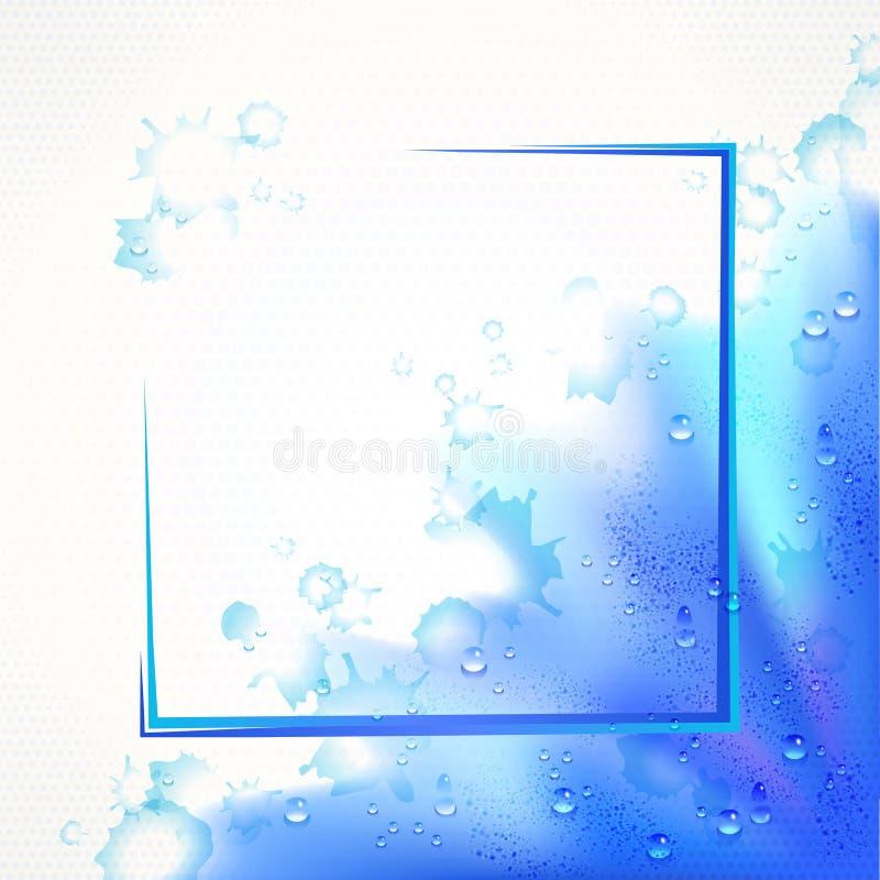 För ramkant för vattenfärg blå bakgrund med droppar stock illustrationer