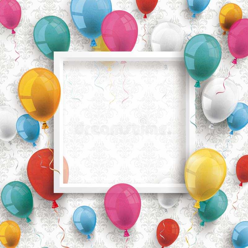 För ramprydnader för kulöra ballonger vit tapet royaltyfri illustrationer