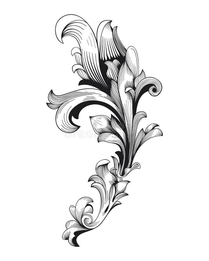 För ramsnirkel för tappning som barock prydnad inristar virveln för lövverk för acanthus för stil för blom- retro modell för grän stock illustrationer