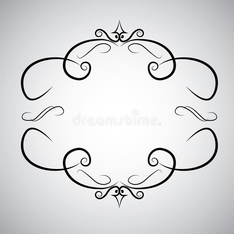 För ramsnirkel för tappning virvel för lövverk för acanthus för stil för barock för prydnad för gravyr modell för gräns blom- ret royaltyfri illustrationer