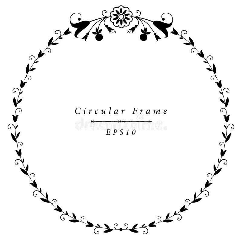 För ramtappning för vektor blom- dekorativa motiv för dekorativ rund stil: liljor och tulpan royaltyfri illustrationer