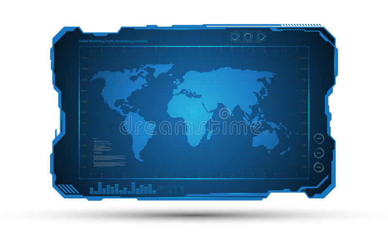 För ramtech för abstrakt världskarta digital bakgrund för design för begrepp för fi för sci stock illustrationer