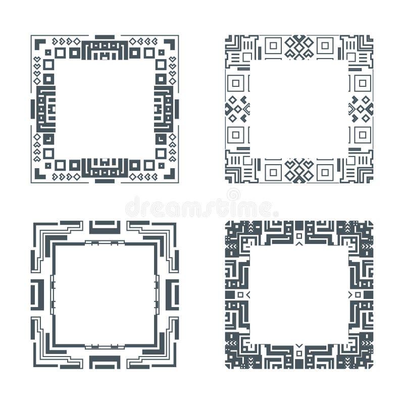För ramuppsättning för etnisk design dekorativ geometrisk illustration för vektor för prydnad vektor illustrationer