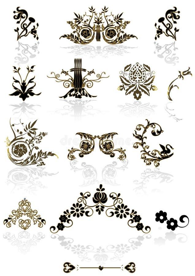 för ramvektor för element blom- tappning vektor illustrationer