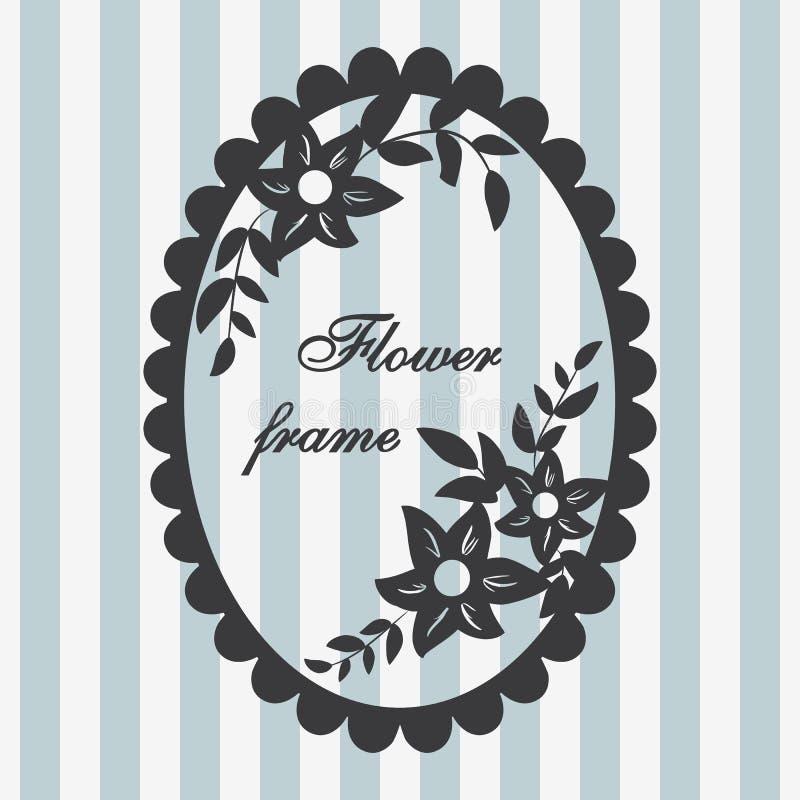 för ramvektor för 8 eps tappning Blommaprydnadblått stock illustrationer