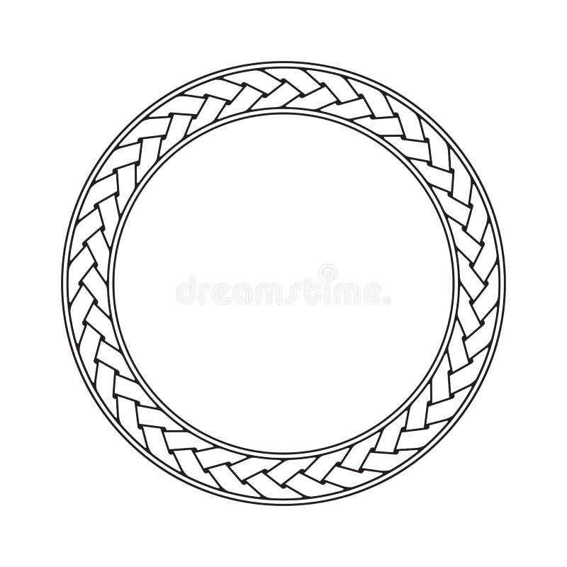 För ramvektor för keltisk flätad tråd rund prydnad royaltyfri illustrationer