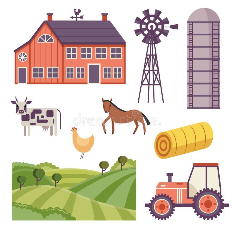 För ranchdesign för vektor lantlig uppsättning för beståndsdelar stock illustrationer