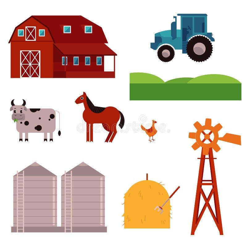 För ranchdesign för vektor lantlig uppsättning för beståndsdelar vektor illustrationer