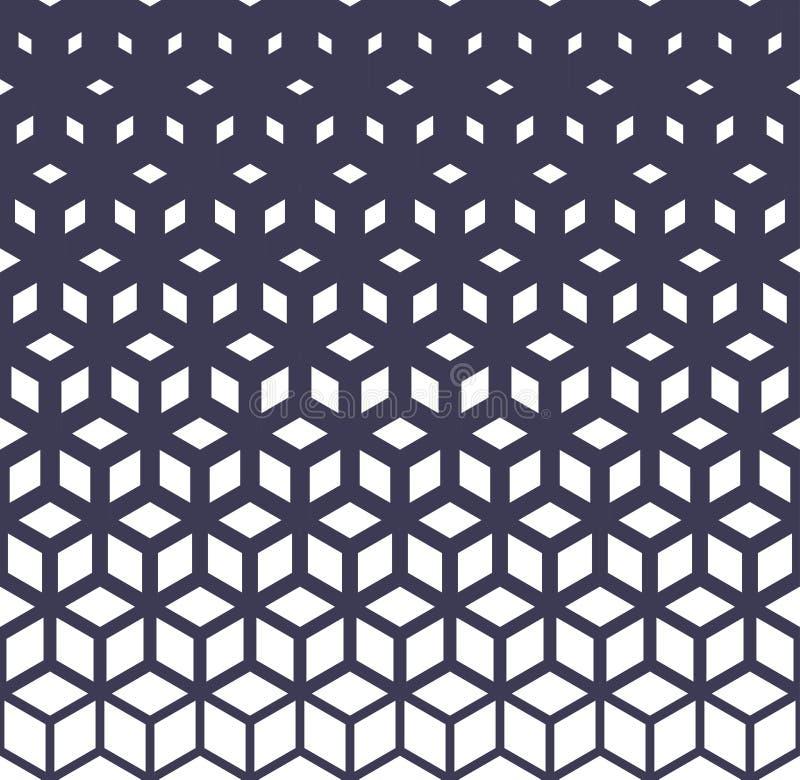 För rasterhalvton för abstrakt sakral geometri purpurfärgad modell för kuber royaltyfri illustrationer