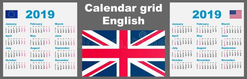 För rastervägg för kalender engelsk 2019 fastställd mall för illustration för ISO 8601 med att numrera för vecka också vektor för stock illustrationer