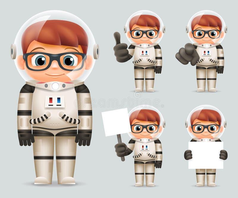 För Realistic 3d för kosmonaut för pojkeutrymmescience fiction för Spaceman Icons Set för astronaut tecknad film illustration för vektor illustrationer